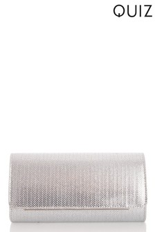 Quiz Herringbone Glitter PU Clutch Bag