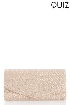Quiz Bags Shimmer Diamanté Detail Envelope Clutch Bag
