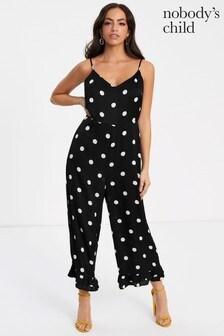 Nobody's Child Polka Dot Frill Hem Jumpsuit