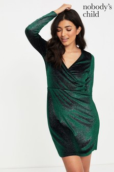 Nobody's Child Velvet Look Glitter Wrap Ruched Mini Dress