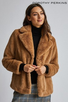 Dorothy Perkins Short Plush Collar Revere Coat