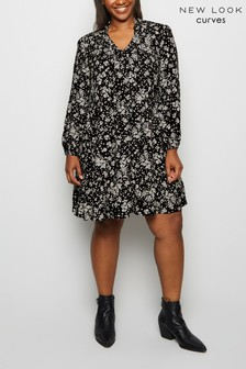 New Look Curve Daisy Tie Neck Dress