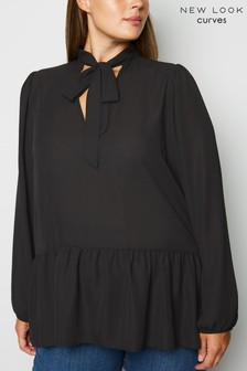 New Look Curve Tie Neck Chiffon Blouse