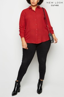 New Look Curve Spot Long Sleeve Shirt