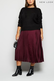 New Look Curve Satin Pleat Skirt