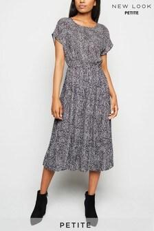 New Look Petite Leopard Print Pleated Midi Dress