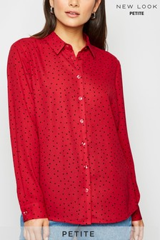 New Look Petite Spot Long Sleeve Shirt