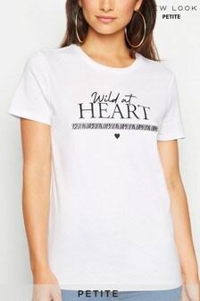 New Look Petite Wild at Heart Slogan Tape Trim T-Shirt