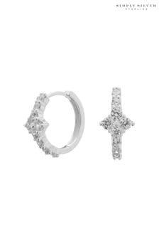 Simply Silver 925 Cubic Zirconia Flower  Hoop Earrings