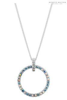 Simply Silver 925 Round Open Short Pendant Necklace Embellished With Swarovski Crystals