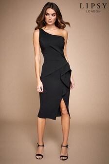 Lipsy One Shoulder Pleated Ruffle Dress