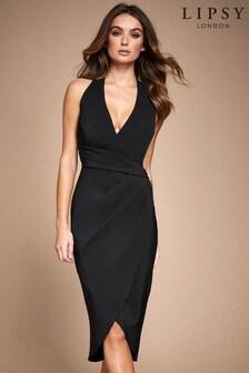 Lipsy Pleated Wrap Asymmetric Bodycon Dress