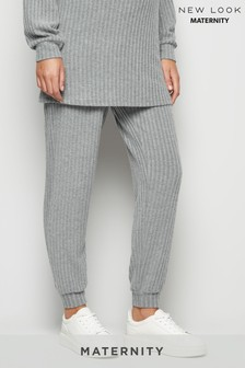 New Look Maternity Dark Ribbed Brushed Trousers