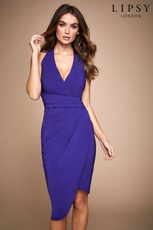 Lipsy Pleated Wrap Asymmetric Bodycon Dress