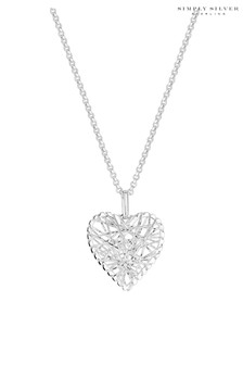 Simply Silver 925 Diamond Cut Mesh Wrap Heart Necklace