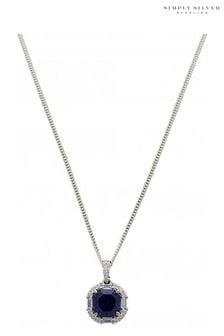 Simply Silver 925 Navy Blue Cubic Zirconia Crystal Necklace