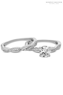 Simply Silver 925 Cubic Zirconia Infinity Ring Set