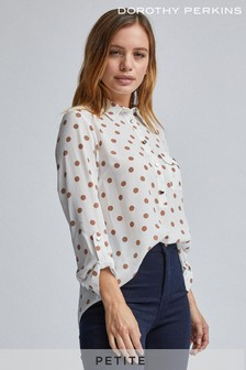 Dorothy Perkins Petite Spot Roll Sleeve Blouse