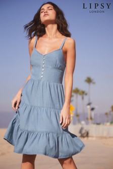 Lipsy Mini Tiered Button Through Dress