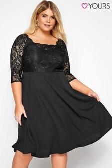 Yours Curve Lace Square Neck Scuba Dress