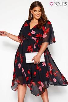 Yours Curve Wrap Floral Hanky Hem Dress