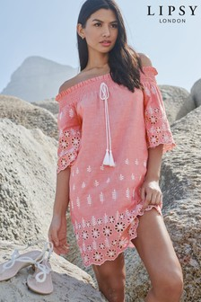 Lipsy Bardot Embroidered Dress