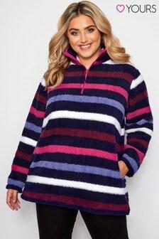 Yours Curve Zip Neck Fleece Sweatshirt