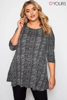 Yours Curve Envelope Neck Zig-Zag Top