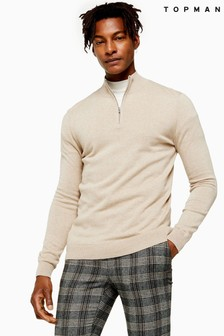 Topman Marl Zip Turtle Neck Jumper