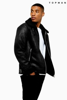 Topman Faux Shearling Aviator Jacket