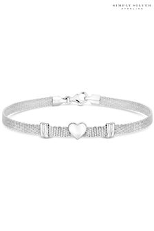 Simply Silver 925 Polished Heart Mesh Bracelet