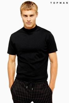Topman Ribbed Turtle Neck T-Shirt