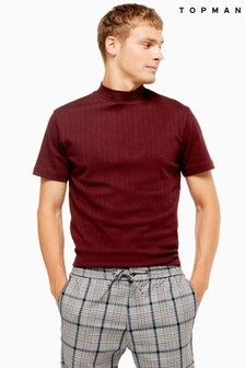 Topman Ribbed Turtle Neck T-Shirt