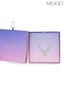 Mood Crystal Statement Necklace And Earring Set - Gift Boxed