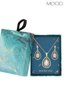 Mood Plated Pink Teardrop Halo Necklace & Earring Set - Gift Boxed