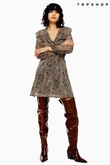 Topshop Heart Animal Print Ruffle Mini Dress