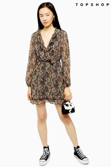 Topshop Ruffle Forest Print Mini Dress