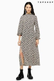 Topshop Daisy Print Pie Crust Midi Dress