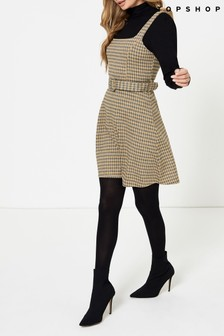 Topshop Jacquard Belted Pinny Dress