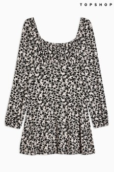 Topshop Floral Blouson Mini Dress