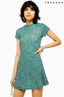 Topshop Ditsy Green Mesh Tea Dress