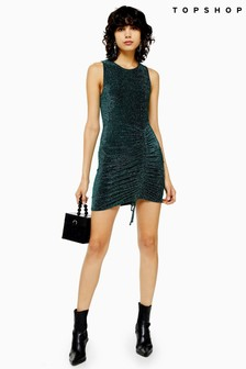 Topshop Metallic Thread Built Up Rouched Dress