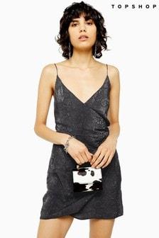 Topshop Snake Print Wrap Mini Slip Dress