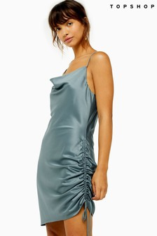 Topshop Ruched Mini Satin Slip Dress