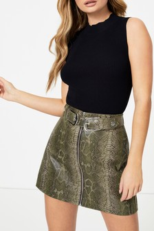 Topshop Snake Zip Through Buckle Skirt