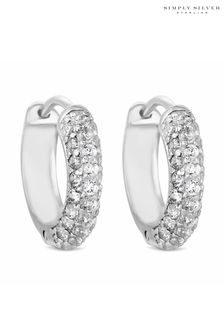 Simply Silver 925 Cubic Zirconia Pave Hoop Earring