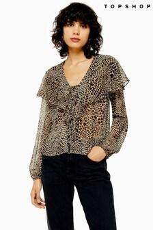 Topshop Leopard Heart Blouse