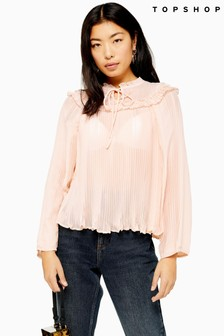 Topshop Ruffle Pleated Smock Top