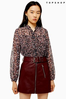 Topshop Pleat Neck Floral Blouse