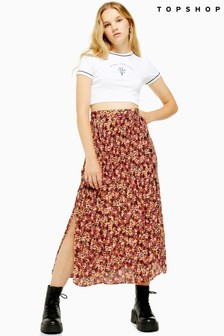 Topshop Floral Pleat Side Button Midi Skirt